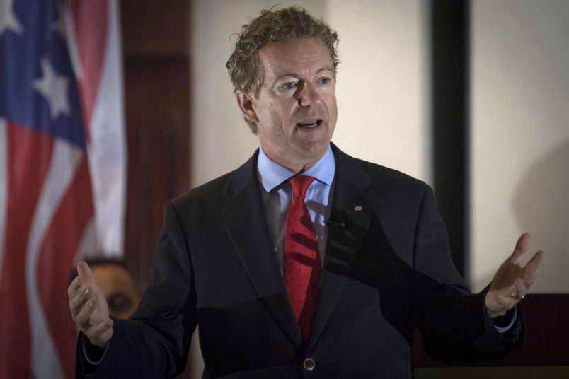 Senator Rand Paul, R-Ky., speaks to supporters gathered at The Champions of Liberty Rally in Hebron, Ky., Friday, August 11, 2017.  Sen Paul was joined at the fundraising event by Kentucky Gov. Matt Bevin, and U.S. Reps Thomas Massie, R-Ky., and Jim Jordan, R-Ohio. (AP Photo/Bryan Woolston)