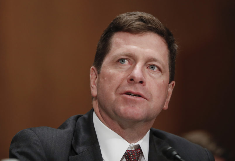 Securities and Exchange Commission (SEC) Chairman nominee Jay Clayton testifies on Capitol Hill in Washington, Thursday, March 23, 2017, at his confirmation hearing before the Senate Banking Committee.  (AP Photo/Pablo Martinez Monsivais)
