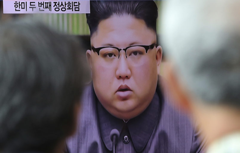 """People watch a TV screen showing an image of North Korean leader Kim Jong Un delivers a statement in response to U.S. President Donald Trump's speech to the United Nations, in Pyongyang, North Korea, at Seoul Railway Station in Seoul, South Korea, Friday, Sept. 22, 2017. Kim, in an extraordinary and direct rebuke, called U.S. President Donald Trump """"deranged"""" and said he will """"pay dearly"""" for his threats, a possible indication of more powerful weapons tests on the horizon. (AP Photo/Ahn Young-joon)"""