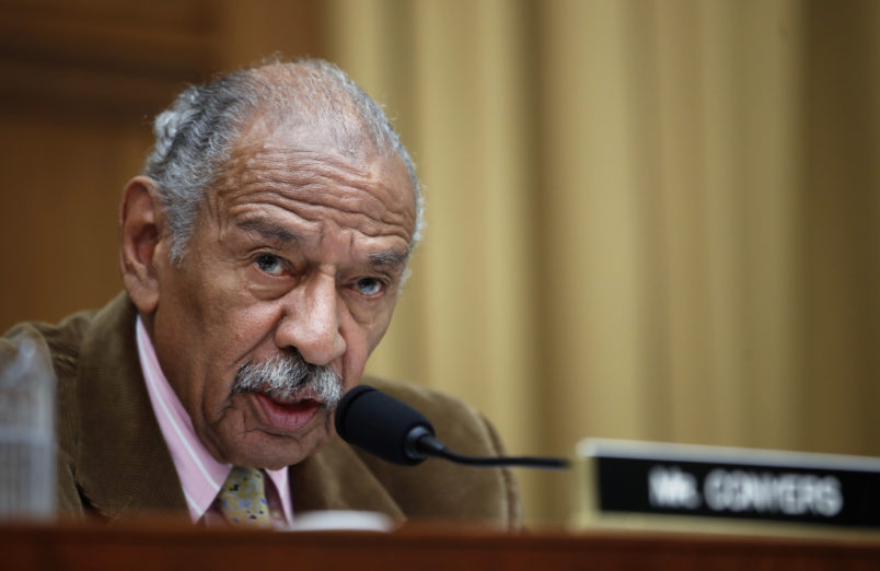 Rep. John Conyers, D-Mich., speaks during a hearing of the House Judiciary Subcommittee on Crime, Terrorism, Homeland Security, and Investigations, on Capitol Hill, Tuesday, April 4, 2017 in Washington. (AP Photo/Alex Brandon)