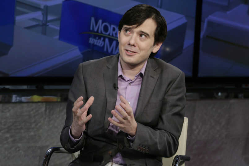 """Martin Shkreli is interviewed by Maria Bartiromo during her """"Mornings with Maria Bartiromo"""" program on the Fox Business Network, in New York, Tuesday, Aug. 15, 2017. (AP Photo/Richard Drew)"""