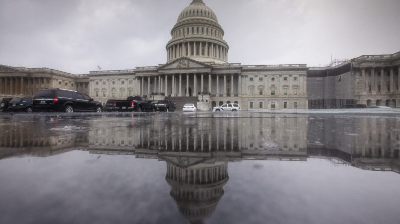 The Capitol is seen during a heavy rain as lawmakers begin their August recess, in Washington, Friday, July 28, 2017.  (AP Photo/J. Scott Applewhite)