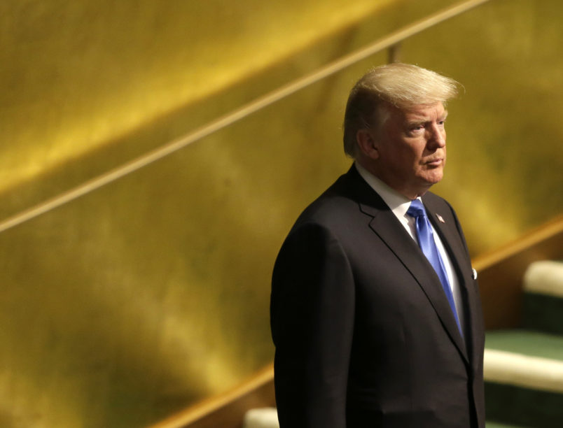 United States President Donald Trump prepares to speak during the United Nations General Assembly at U.N. headquarters, Tuesday, Sept. 19, 2017. (AP Photo/Seth Wenig)