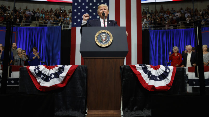 President Donald Trump speaks during a campaign rally for Senate candidate Luther Strange, Friday, Sept. 22, 2017, in Huntsville, Ala. (AP Photo/Evan Vucci)