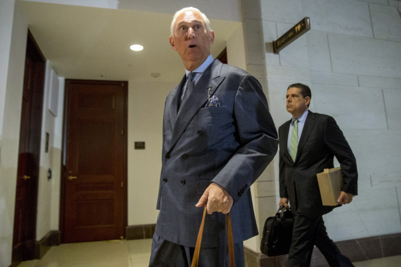 Roger Stone arrives to testify before the House Intelligence Committee, on Capitol Hill, Tuesday, Sept. 26, 2017, in Washington. (AP Photo/Andrew Harnik)