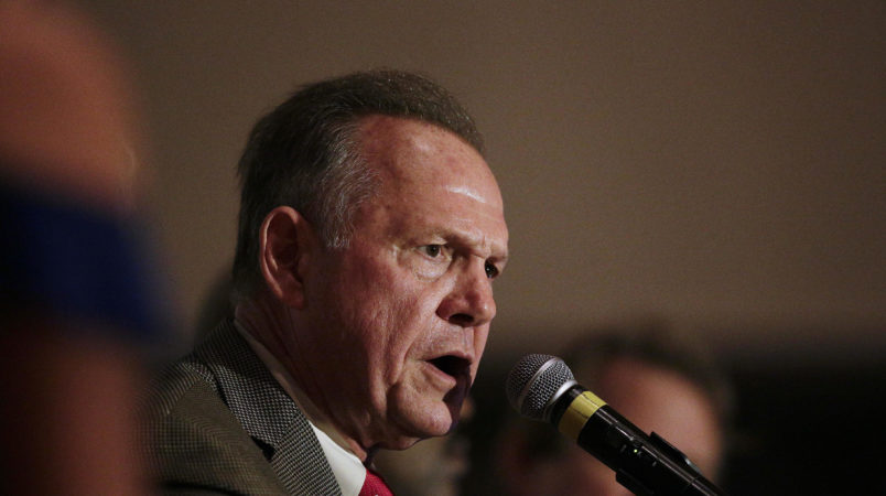Former Alabama Chief Justice and U.S. Senate candidate Roy Moore during speaks during his election party, Tuesday, Sept. 26, 2017, in Montgomery, Ala. Moore won the Alabama Republican primary runoff for U.S. Senate on Tuesday, defeating an appointed incumbent backed by President Donald Trump and allies of Sen. Mitch McConnell. (AP Photo/Brynn Anderson)