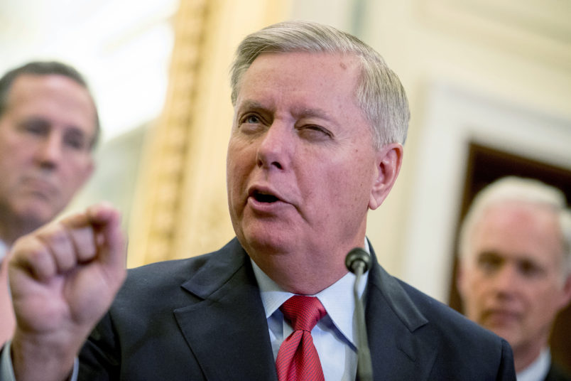 Sen. Lindsey Graham, R-S.C., speaks at a news conference on Capitol Hill in Washington, Wednesday, Sept. 13, 2017, to unveil legislation to reform health care. (AP Photo/Andrew Harnik)