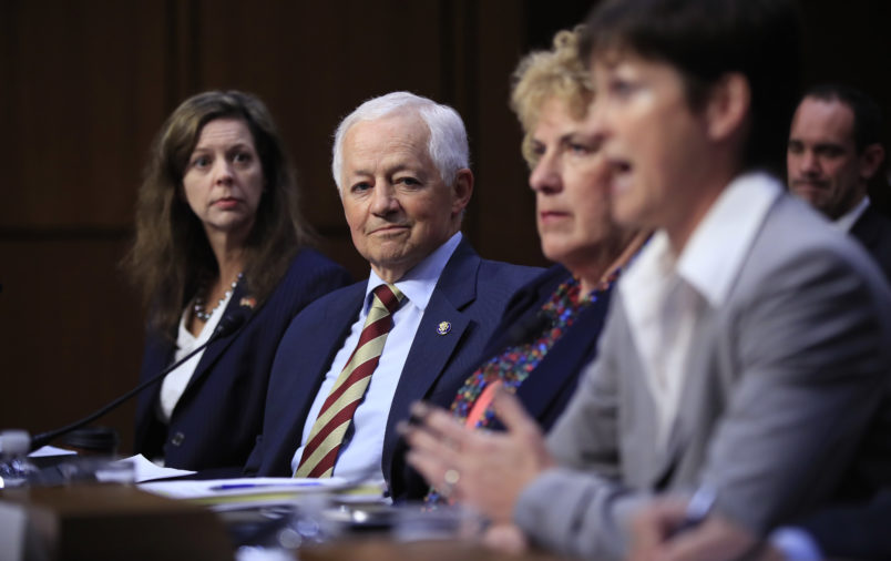 State insurance commissioners from Tennessee Department of Commerce and Insurance Commissioner Julie Mix McPeak, from left; Washington State Insurance Commissioner Mike Kreidler; Alaska Division of Insurance Director Lori Wing-Heier and Insurance Commissioner of Pennsylvania Theresa Miller testify during a Senate Health, Education, Labor, and Pensions Committee hearing on the individual health insurance market for 2018 on Capitol Hill in Washington, Wednesday, Sept. 6, 2017.   (AP Photo/Manuel Balce Ceneta)