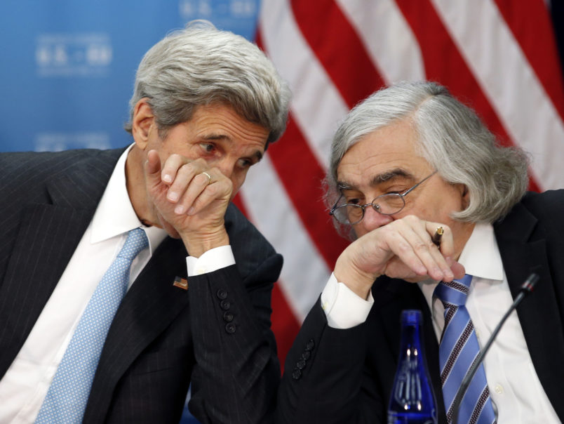 Secretary of State John Kerry, left, speaks with Secretary of Energy Ernest Moniz during the seventh U.S. – E.U. Energy Security Council meeting, during the U.S. Caribbean-Central American Energy Summit at the State Department, Wednesday, May 4, 2016 in Washington. (AP Photo/Alex Brandon)