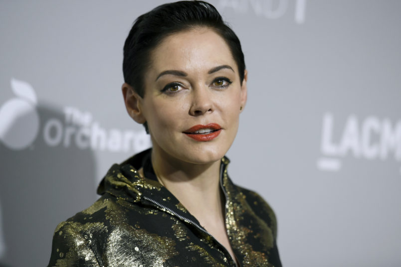 """Rose McGowan arrives at the LA Premiere Of """"DIOR & I"""" held at the Leo S. Bing Theatre on Wednesday, April 15, 2015, in Los Angeles. (Photo by Richard Shotwell/Invision/AP)"""