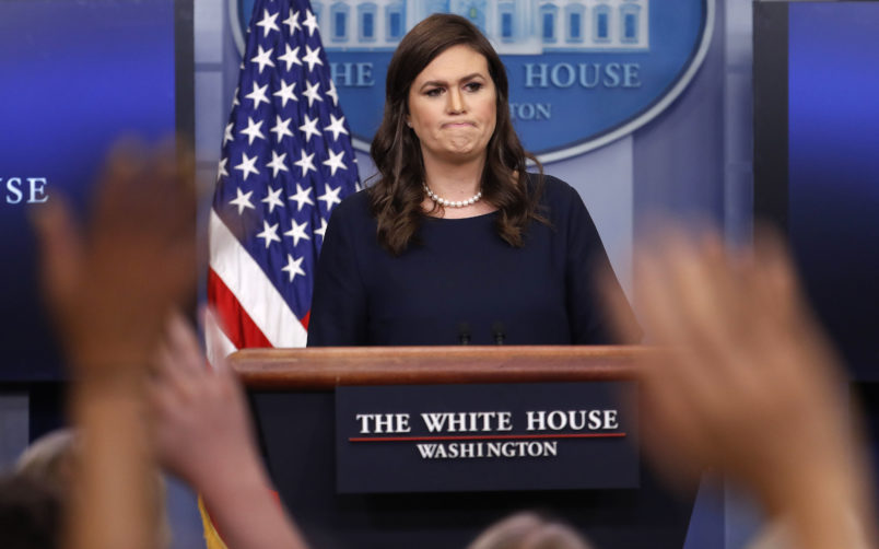 White House press secretary Sarah Huckabee Sanders pauses as she prepares to answer questions during the press briefing in the Brady Press Briefing room of the White House in Washington, Wednesday, July 26, 2017. (AP Photo/Pablo Martinez Monsivais)
