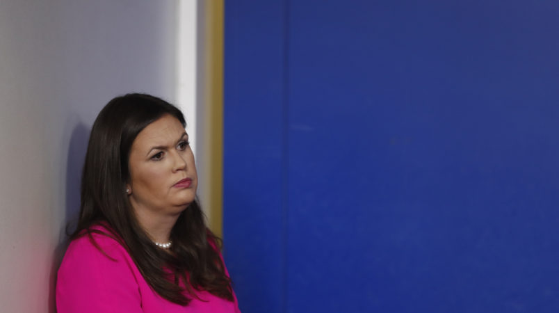 White House press secretary Sarah Huckabee Sanders stands off to the side during a news briefing at the White House, in Washington, Friday, Sept. 15, 2017. (AP Photo/Carolyn Kaster)
