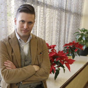 "FILE – In this Dec. 6, 2016, file photo, Richard Spencer, a leader in the ""alt-right"" that mixes racism, white nationalism and populism, poses between interviews the day of his speech on the Texas A&M University campus in College Station, Texas. A University of Cincinnati spokesman said Thursday, Sept. 28, 2017, that the school was assessing ""safety and logistical considerations"" in considering white nationalist Richard Spencer's request to speak there, WCPO-TV reports, after Ohio State University and other colleges rejected similar requests. (AP Photo/David J. Phillip, File)"