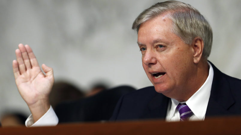 Sen. Lindsey Graham, R-S.C., chairman of the Senate Judiciary Subcommittee on Crime and Terrorism, questions Attorney General Jeff Sessions during a Senate Judiciary Committee hearing on Capitol Hill in Washington, Wednesday, Oct. 18, 2017. (AP Photo/Carolyn Kaster)