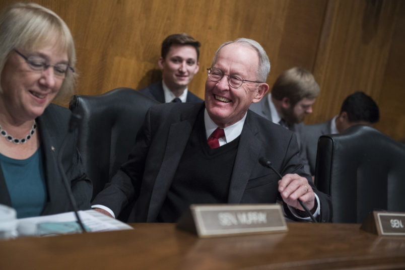"""UNITED STATES - OCTOBER 19: Chairman Lamar Alexander, R-Tenn., and Sen. Patty Murray, D-Wash., ranking member, are seen during a Senate Health, Education, Labor and Pensions Committee hearing in Dirksen Building titled """"Examining How Healthy Choices Can Improve Health Outcomes and Reduce Costs,"""" on October 19, 2017. (Photo By Tom Williams/CQ Roll Call)"""
