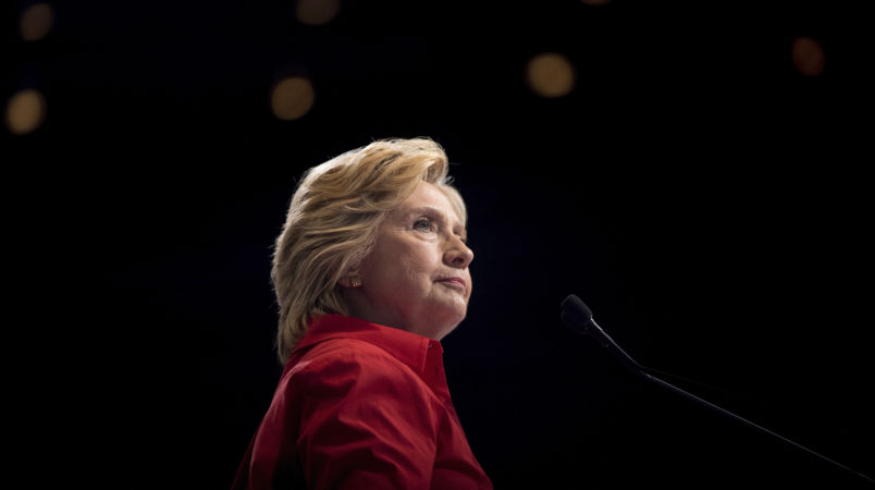 Democratic presidential candidate Hillary Clinton pauses while speaking at a rally at David L. Lawrence Convention in Pittsburgh, Saturday, July 30, 2016. Clinton and Kaine are on a three day bus tour through the rust belt. (AP Photo/Andrew Harnik)