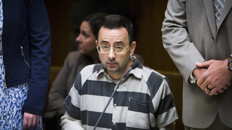 Dr. Larry Nassar appears in District Court Judge Donald Allen Jr.'s 55th District Court  for his preliminary hearing Friday, May 12, 2017.  Nassar, 53, of Holt faces 15 first-degree criminal sexual conduct charges related to seven different reported victims.  [MATTHEW DAE SMITH | Lansing State Journal]