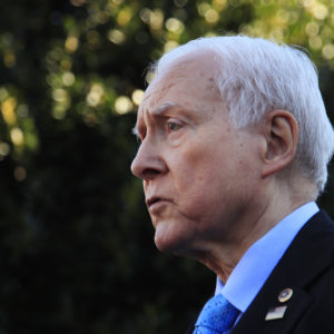 Senate Finance Committee Chairman Orrin Hatch, R-Utah, speaks to reporters following a meeting with President Donald Trump at the White House in Washington, Monday, Nov. 27, 2017.  (AP Photo/Manuel Balce Ceneta)