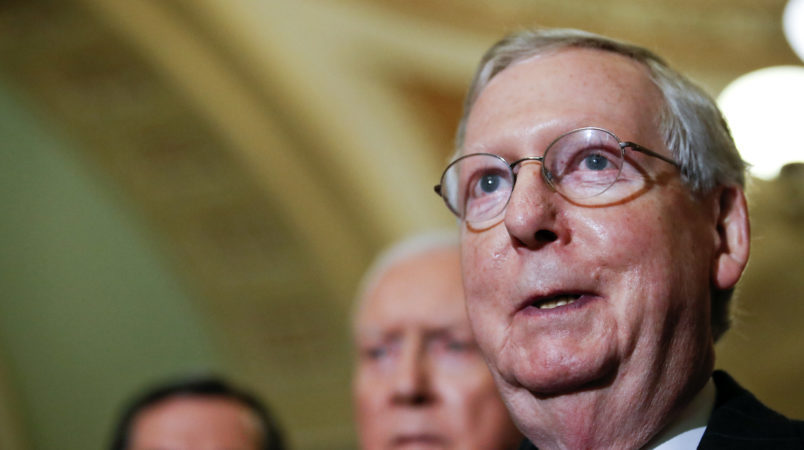 Senate Majority Leader Mitch McConnell of Ky., talks with the media after Senate Republicans met with President Donald Trump on Capitol Hill, Tuesday, Nov. 28, 2017, in Washington. (AP Photo/Alex Brandon)