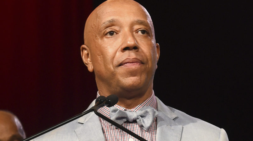 Russell Simmons speaks on stage at the RUSH Philanthropic Arts Foundation's Art for Life Benefit at Fairview Farms in Water Mill on Saturday, July 18, 2015, in New York. (Photo by Scott Roth/Invision/AP)