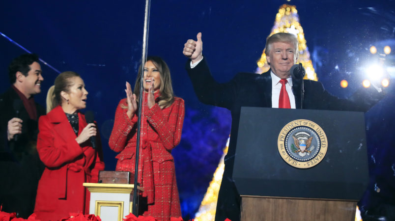 President Donald Trump and first lady Melania Trump, cheer after lighting the 2017 National Christmas Tree during the National Christmas Tree lighting ceremony at the Ellipse near the White House in Washington, Thursday, Nov. 30, 2017. With the president and the first lady are Kathie Lee Gifford and actor Dean Cain.  (AP Photo/Manuel Balce Ceneta)