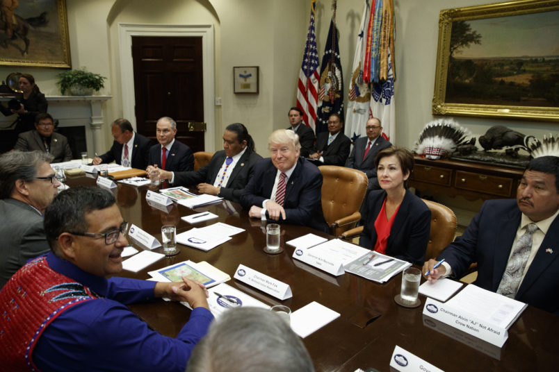 President Donald Trump speaks during an energy roundtable with tribal, state, and local leaders in the Roosevelt Room of the White House, Wednesday, June 28, 2017, in Washington. (AP Photo/Evan Vucci)