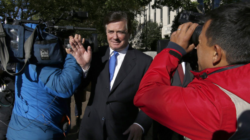 Paul Manafort, President Donald Trump's former campaign chairman, departs at Federal District Court in Washington, Monday, Oct. 30, 2017. Manafort, and a former business associate, Rick Gates, have been told to surrender to federal authorities Monday, according to reports and a person familiar with the matter. (AP Photo/Alex Brandon)