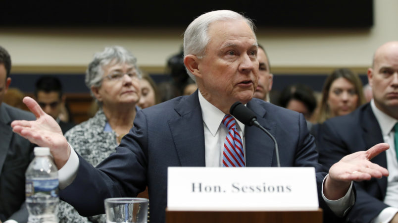 Attorney General Jeff Sessions speaks during a House Judiciary Committee hearing on Capitol Hill, Tuesday, Nov. 14, 2017 in Washington. (AP Photo/Alex Brandon)