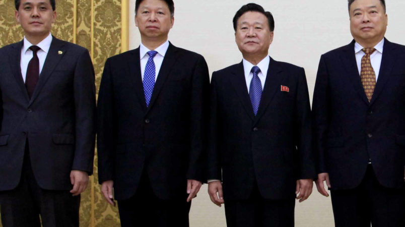 Choe Ryong Hae, member of the Presidium of the Political Bureau of the C.C., WPK, vice-chairman of the State Affairs Commission of the DPRK and vice-chairman of the C.C., WPK, met and had a talk with Song Tao, head of the International Liaison Department of the Central Committee of the Communist Party of China, who is a special envoy of Xi Jinping, general secretary of the C.C., CPC, at the Mansudae Assembly Hall.2017.November,17 AP PHOTO Kim Kwang Hyon