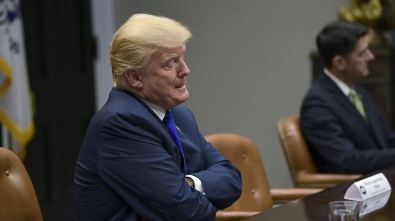 President Donald Trump pauses as he is asked a question by a reporter as they are leaving the Roosevelt Room of the White House in Washington, Tuesday, Nov. 28, 2017, during a meeting with Republican congressional leaders. (AP Photo/Susan Walsh)