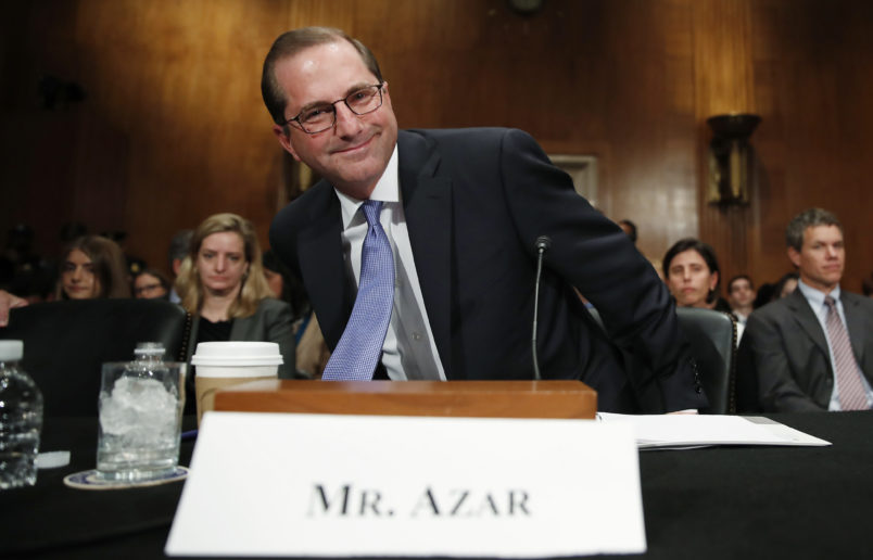 Alex Azar, President Donald Trump's nominee to become Secretary of Health and Human Services, arrives to testify at a Senate Health, Education, Labor and Pensions Committee confirmation hearing on Capitol Hill in Washington, Wednesday, Nov. 29, 2017. (AP Photo/Carolyn Kaster)