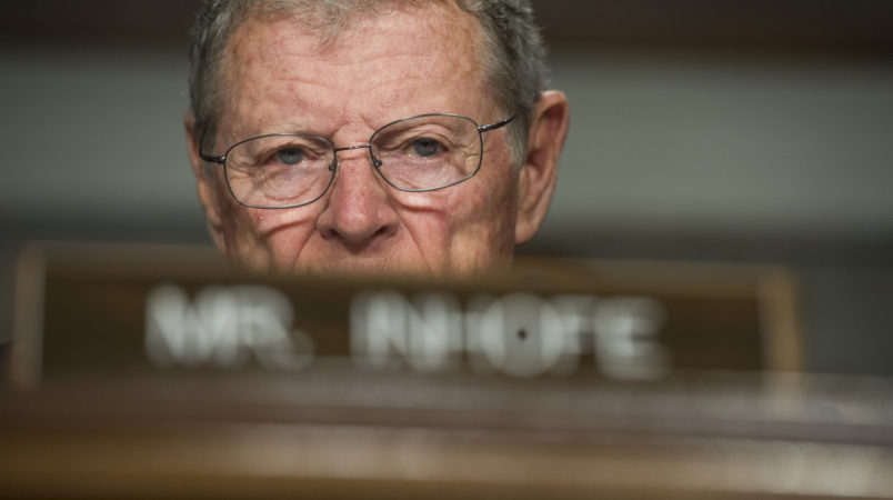 """UNITED STATES - APRIL 27: Sen. James Inhofe, R-Okla., attends a Senate Armed Services Committee hearing in Dirksen Building titled """"United States Pacific Command and United States Forces Korea,"""" which featured testimony by Navy Adm. Harry Harris Jr., commander of the U.S. Pacific Command on April 27, 2017. (Photo By Tom Williams/CQ Roll Call)"""