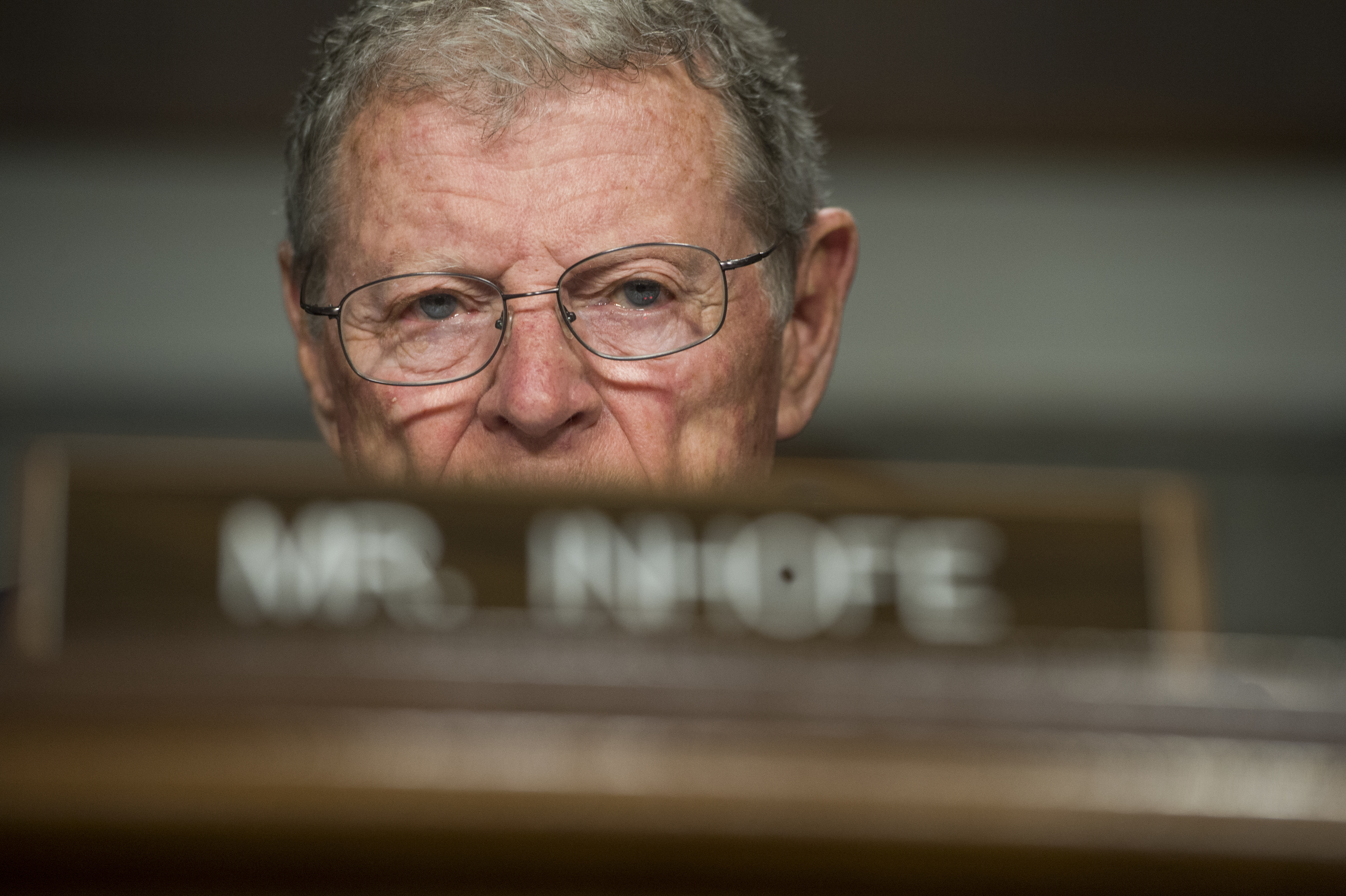 "UNITED STATES - APRIL 27: Sen. James Inhofe, R-Okla., attends a Senate Armed Services Committee hearing in Dirksen Building titled ""United States Pacific Command and United States Forces Korea,"" which featured testimony by Navy Adm. Harry Harris Jr., commander of the U.S. Pacific Command on April 27, 2017. (Photo By Tom Williams/CQ Roll Call)"