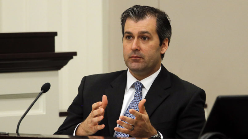 Former North Charleston police officer Michael Slager testifies during his murder trial at the Charleston County court in Charleston, S.C., Tuesday, Nov. 29, 2016. Slager is charged with murder in the shooting death last year of Walter Scott. (Grace Beahm/Post and Courier via AP, Pool)