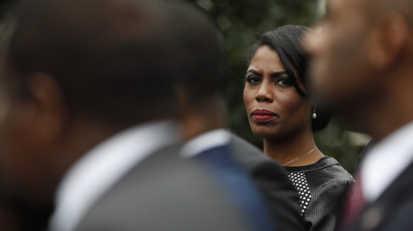 """White House Director of communications for the Office of Public Liaison Omarosa Manigault stands with the of leaders of Historically Black Colleges and Universities (HBCU) outside the West Wing of the White House in Washington, Tuesday, Feb. 28, 2017. President Donald Trump signed an executive order Tuesday aimed at signaling his commitment to historically black colleges and universities, saying that those schools will be """"an absolute priority for this White House.""""(AP Photo/Pablo Martinez Monsivais)"""