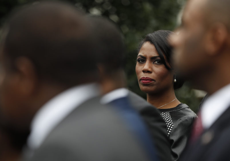 White House Director of communications for the Office of Public Liaison Omarosa Manigault stands with the of leaders of Historically Black Colleges and Universities outside the West Wing of the White House in Washington Tuesday Feb. 28 2017. Pre