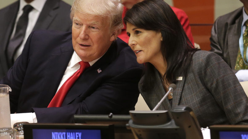 United States President Donald Trump speaks with U.S. Ambassador to the United Nations Nikki Haley before a meeting during the 72st session of the United Nations General Assembly at U.N. headquarters, Monday, Sept. 18, 2017. (AP Photo/Seth Wenig)