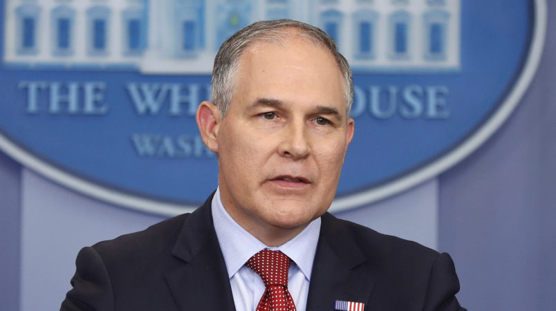 FILE - In this June 2, 2017 file photo, EPA Administrator Scott Pruitt speaks in the Brady Press Briefing Room of the White House in Washington. The inspector general at the EPA has opened an inquiry into Pruitt's frequent taxpayer-funded travel to his home in Oklahoma. (AP Photo/Pablo Martinez Monsivais, File)