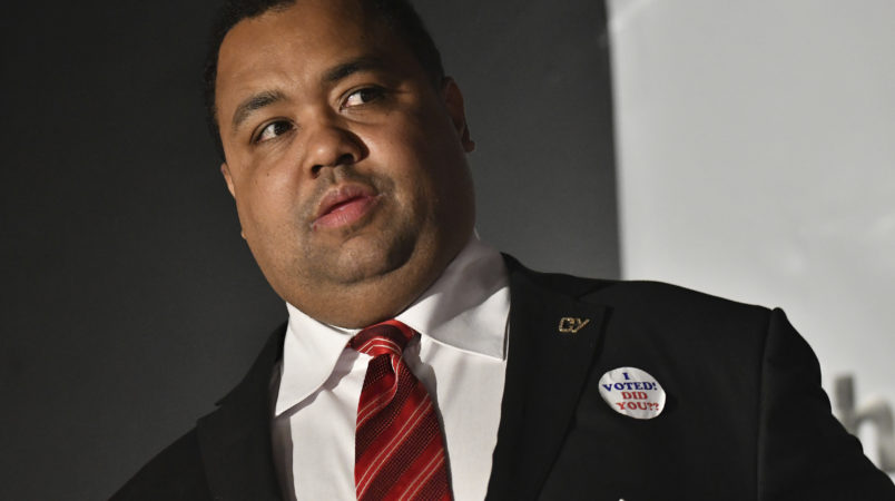Coleman Young II waits for the microphone to give his concession speech at the election night party for mayoral candidate Coleman Young II at Southern Fire Bistro & Lounge in Detroit on Nov. 7, 2017. (Robin Buckson / The Detroit News)