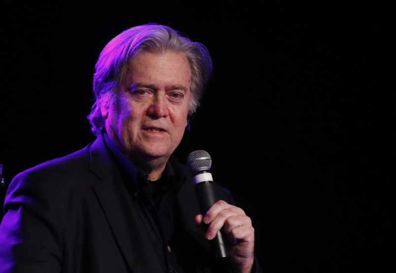 Steve Bannon, the former chief strategist to President Donald Trump, speaks at the Macomb County Republican Party dinner in Warren, Mich., Wednesday, Nov. 8, 2017. The event takes place on the anniversary of the elction that put Trump in the White House.  (AP Photo/Paul Sancya)
