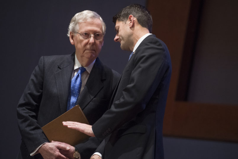 UNITED STATES - NOVEMBER 09: Senate Majority Leader Mitch McConnell, R-Ky., left, and Speaker of the House Paul Ryan, R-Wis., attend a U.S. Capitol Police Medal of Honor ceremony in the Congressional Auditorium on November 9, 2017. Special Agents Crystal Griner and David Bailey of the U.S. Capitol Police and three officers from the Alexandria Police Department received the USCP's Medal of Honor for their actions during the GOP baseball practice shooting in June. (Photo By Tom Williams/CQ Roll Call)