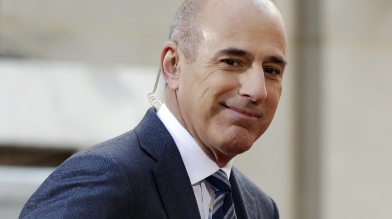 "Matt Lauer, co-host of the NBC ""Today"" television program, appears on set in Rockefeller Plaza, in New York, Thursday, April 21, 2016. (AP Photo/Richard Drew)"