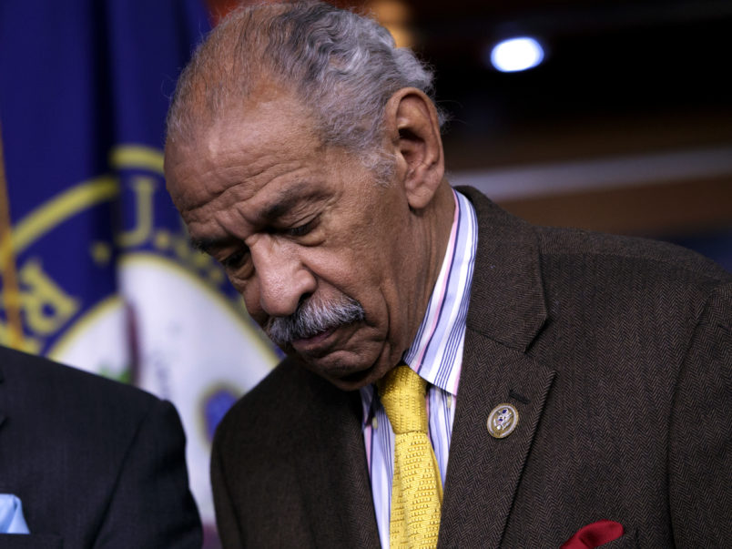 FILE -- In this file photo from Tuesday, Feb. 14, 2017, Rep. John Conyers, D-Mich., attends a news conference about the investigation into President Donald Trump's relationship with Russia, on Capitol Hill in Washington. House Minority Leader Nancy Pelosi, D-Calif., the top Democrat in the House, said today, Thursday, Nov. 30, 2017, that Rep. Conyers, should resign in the face of multiple accusations of sexual misconduct, calling them serious, disappointing and very credible.    (AP Photo/J. Scott Applewhite, file)