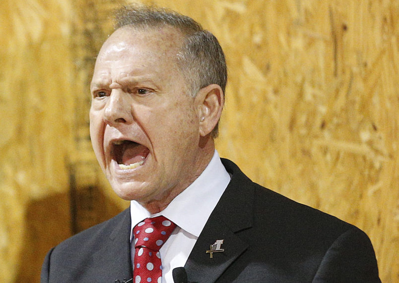 Former Alabama Chief Justice and U.S. Senate candidate Roy Moore speaks at a rally, Thursday, Nov. 30, 2017 in Dora, Ala. (AP Photo/Brynn Anderson)