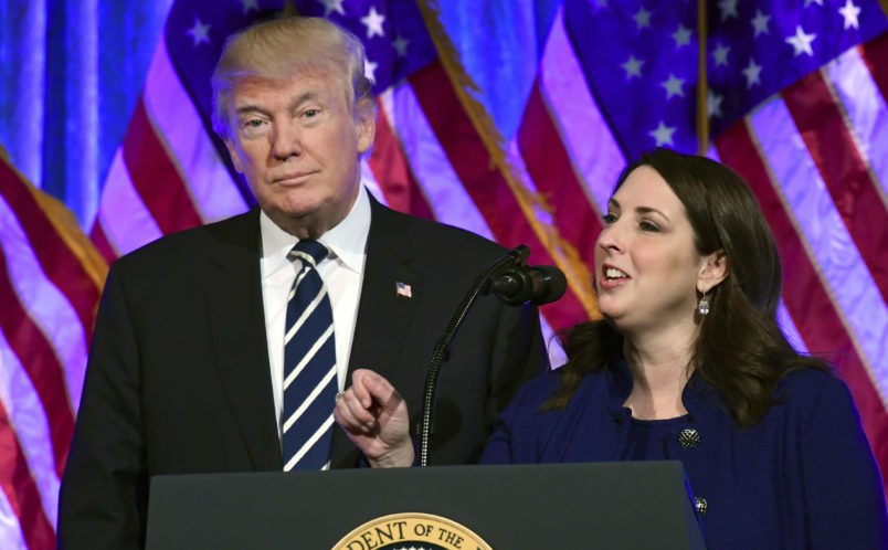 President Donald Trump, left, listens as Republican Nantional Committee chairwoman Ronna Romney McDaniel, right, speaks at a fundraiser at Cipriani in New York, Saturday, Dec. 2, 2017. Trump is attending a trio of fundraisers during his day in New York. (AP Photo/Susan Walsh)