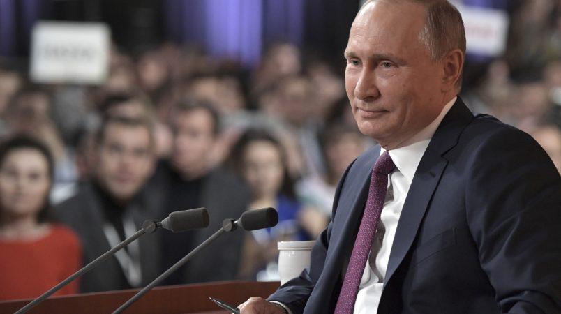 Russian President Vladimir Putin smiles during his annual news conference in Moscow, Russia, Thursday, Dec. 14, 2017. (Alexei Nikolsky, Sputnik, Kremlin Pool Photo via AP)