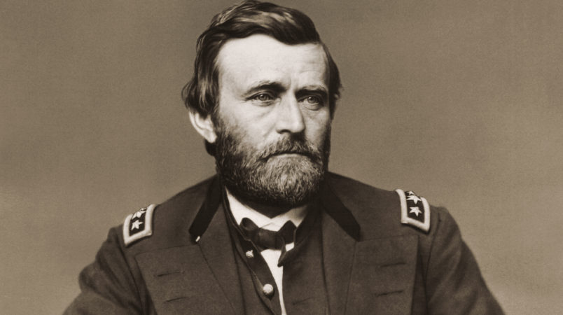 Photograph of Ulysses S. Grant (1822-1885) shown wearing a military uniform and posing for a portrait. He served in the U.S. Civil War at various levels of military command. Grant was promoted to lieutenant general in 1864 and given command of all Union armies. He was eighteenth president of the United States, elected in 1868 and reelected in 1872.