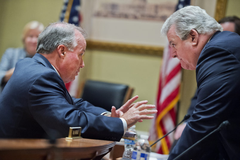 """UNITED STATES - JUNE 03: Ed Cassidy, left, Chief Administrative Officer of the House, talks with Rep. Bob Brady, D-Pa., after a House Administration Committee hearing in Longworth Building titled """"House Officer Priorities for 2016 and Beyond,"""" June 3, 2015. (Photo By Tom Williams/CQ Roll Call)"""