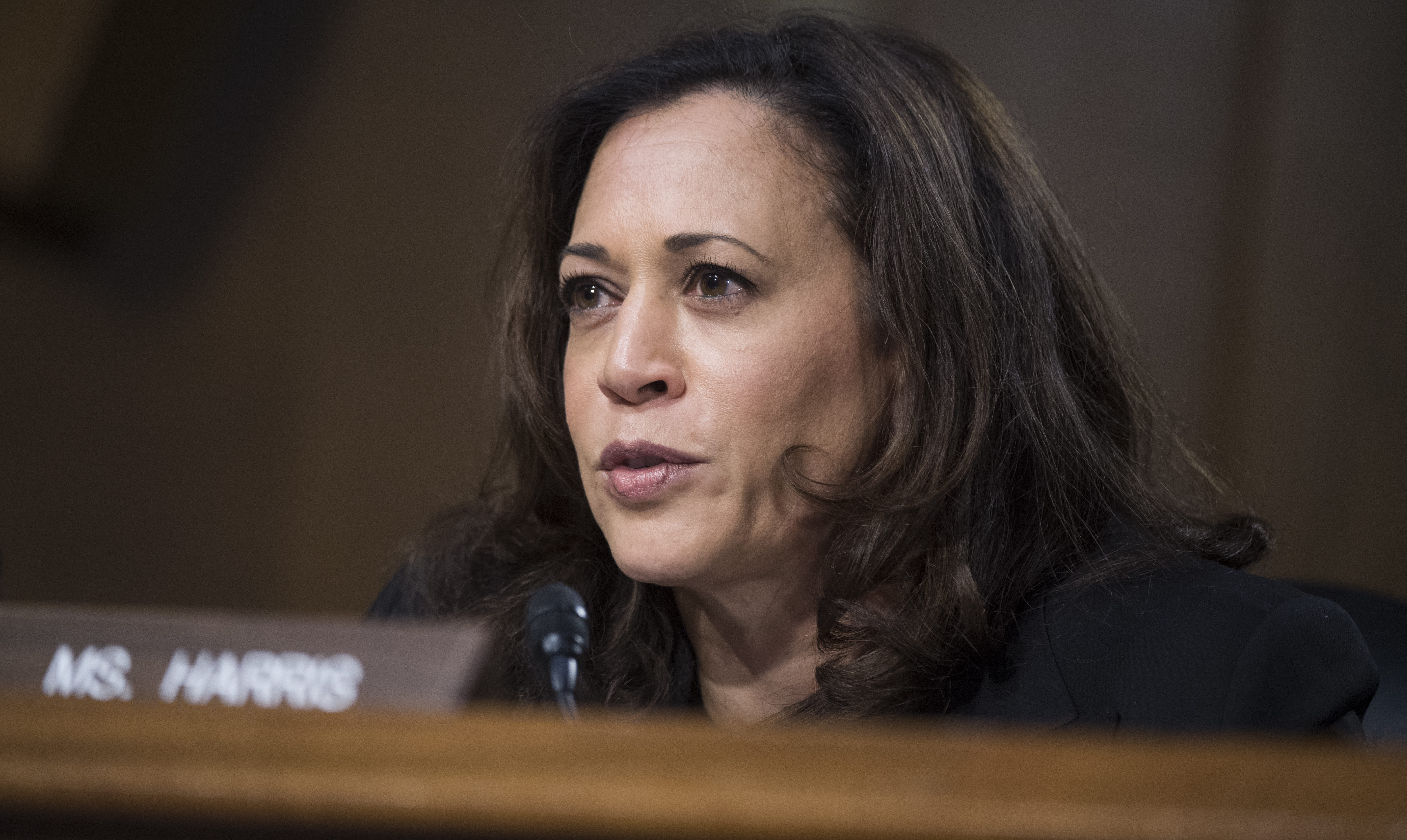 UNITED STATES - JANUARY 12: Sen. Kamala Harris, D-Calif., questions Rep. Mike Pompeo, R-Kan., nominee for director of the Central Intelligence Agency, during his Senate Select Intelligence Committee confirmation hearing in Dirksen Building, January 12, 2017. The hearing was moved from Hart Building due to a power outage. (Photo By Tom Williams/CQ Roll Call)