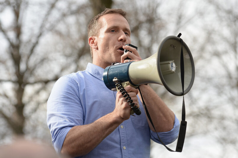 UNIVERSITY CITY, MO - FEBRUARY 22: Missouri Governor, Eric Greitens addresses the crowd at Chesed Shel Emeth Cemetery on February 22, 2017 in University City, Missouri. Governor Eric Greitens and US Vice President, Mike Pence, were on hand to speak to over 300 volunteers who were on hand to cleanup after the recent vandalism. Since the beginning of the year, there has been a nationwide spike in incidents including bomb threats at Jewish community centers and reports of anti-semitic graffiti. (Photo: Michael Thomas/ Getty Images)